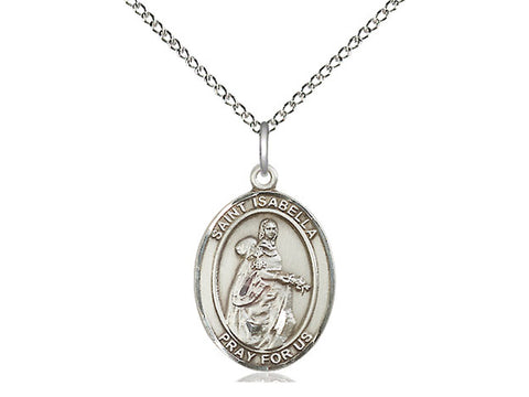 "Sterling Silver Saint Isabella of Portugal Medal, 18"" Chain"
