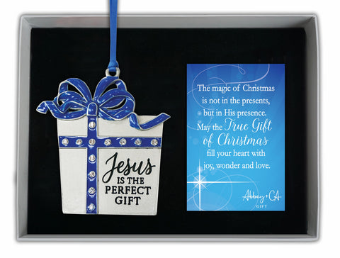 JESUS IS THE PERFECT GIFT ORNAMENT W/ CRYSTALS & EPOXY ON BLUE RIBBON