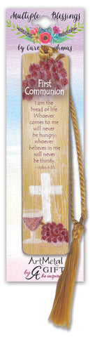 FIRST COMMUNION BOOKMARK W'GOLD SILK TASSLE