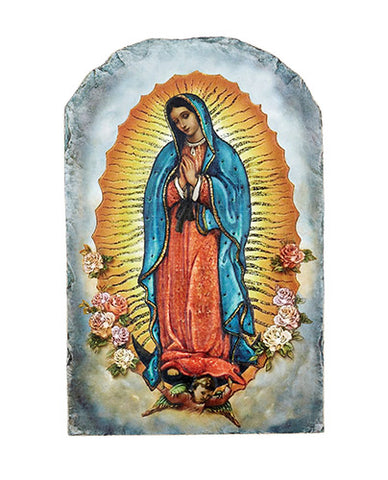 Our Lady of Guadalupe Arched Tile Plaque with Stand