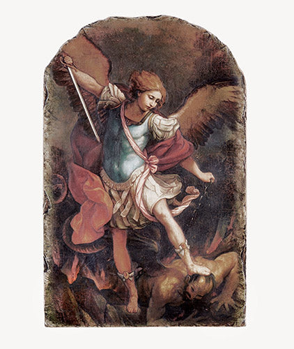 "8.5"" Saint Michael Arched Tile Plaque with Stand"