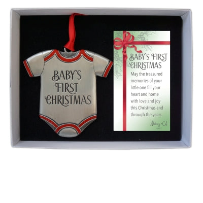 BABY'S FIRST CHRISTMAS  ONESIE ORNAMENT ON RED RIBBON