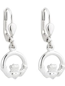 Claddagh Drop Earrings, Sterling Silver