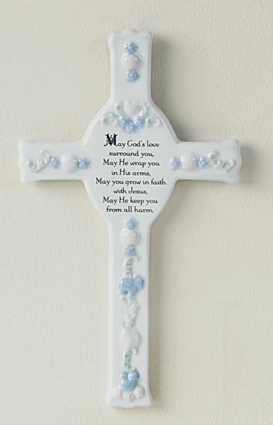 "8"" Porcelain Baby Baptism Cross"