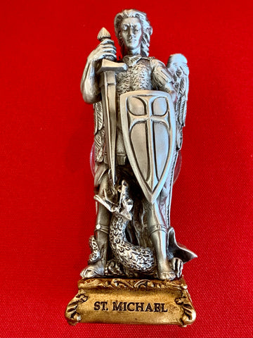 "4 1/2"" ST. MICHAEL PEWTER STATUE ON BASE"