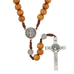 Saint Benedict Paracord Rosary - Brown