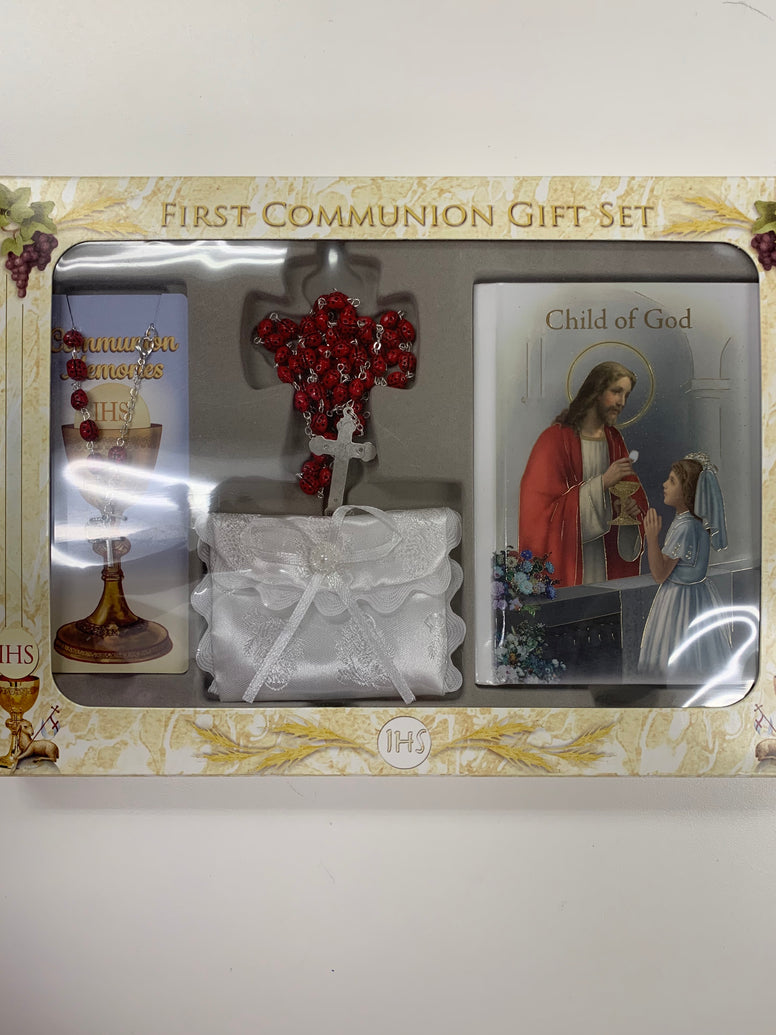 First Communion Gift Set Girls with Red Lady Bug Bead Rosary, Bracelet and Prayer Book