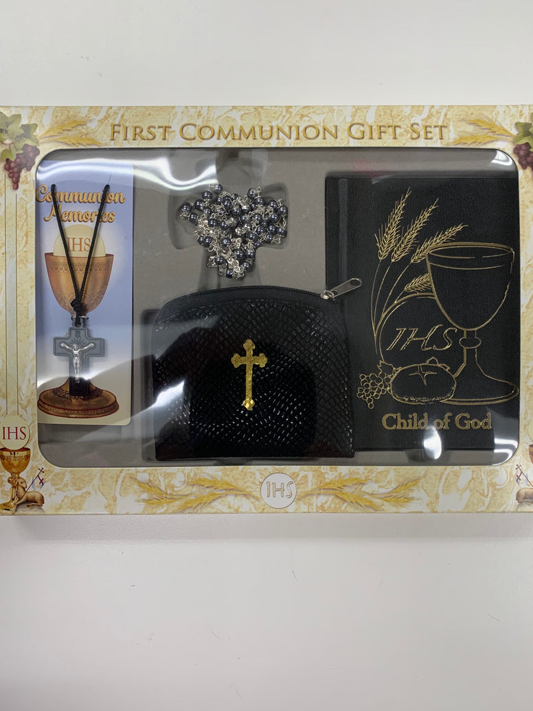 First Communion Gift Set Boys with Gray Bead Rosary, Crucifix, and Prayer Book