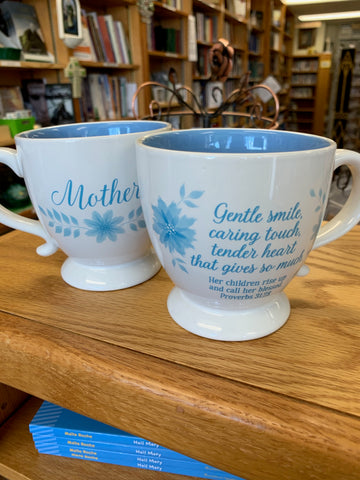 Blue & White Mother Mug with Proverbs 31:28