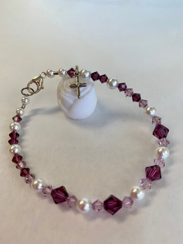 "7 1/4"" Pink & Purple Crystal Bracelet with Pearls and Silver Cross-Youth"