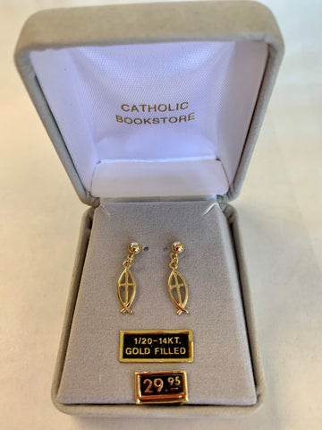 Gold-Filled Fish/Cross Drop Earrings