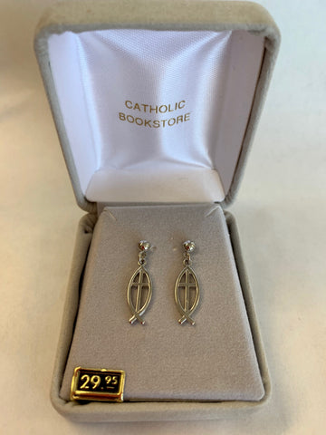 Sterling Silver Fish/Cross Drop Earrings