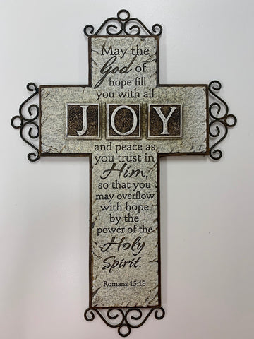 "12"" Stone Decor Confirmation Cross with Romans 15:13"