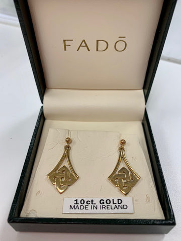 Irish 10K Gold Drop Earrings by Fadó