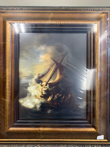 "Storm on the Sea of Galilee by Rembrandt Framed Art 14"" x 16"""