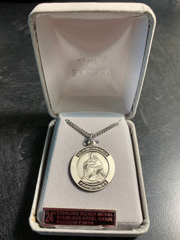 "Sterling Silver Saint Timothy Round Medal, 24"" Chain"