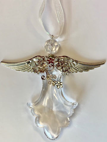 Icy Crystal Angel Ornament with Ribbon