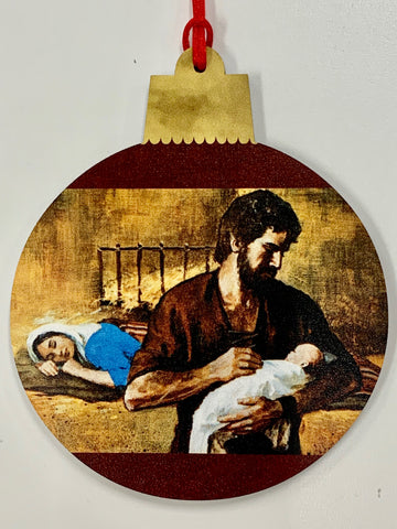 Holy Family Wood Ornament
