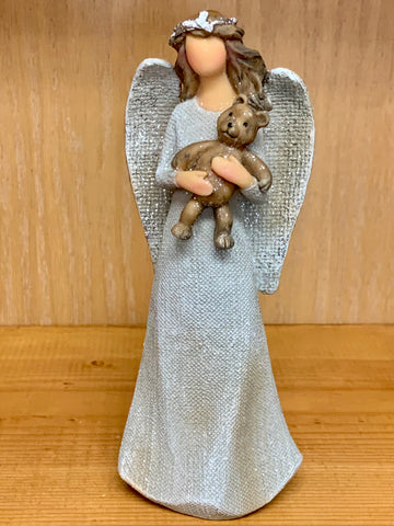 Angel Holding Teddy Bear Statue