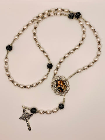 Swarovski Crystal Pearl & Black St. Joseph & Jesus Heirloom Rosary by Lidia