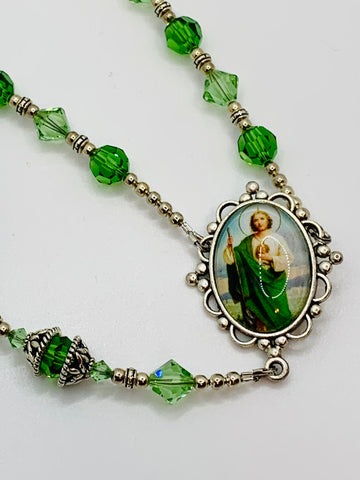 Swarovski Crystal Emerald St. Jude One Decade Heirloom Rosary by Lidia