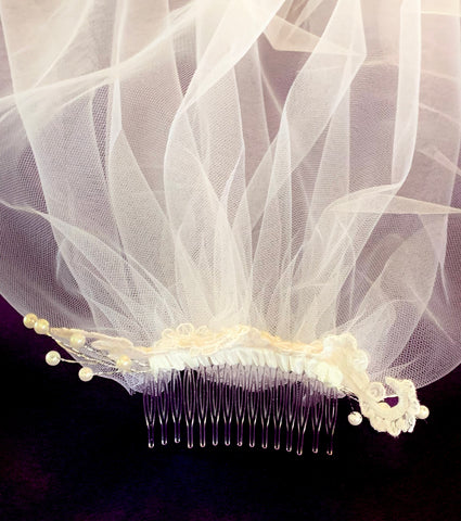 First Holy Communion Veil w' Floral Sequins, Pearls and Comb