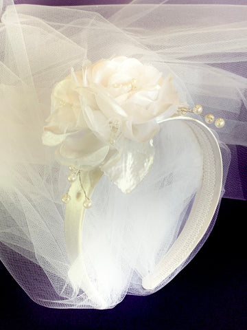 First Holy Communion Veil w' Flower & Satin Headband