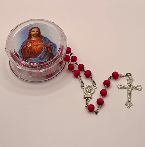 Red Rose Scented Rosary in Sacred Heart Case