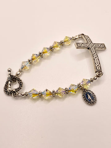 Swarovski Crystal Gold Iridescent Cross Bracelet by Lidia