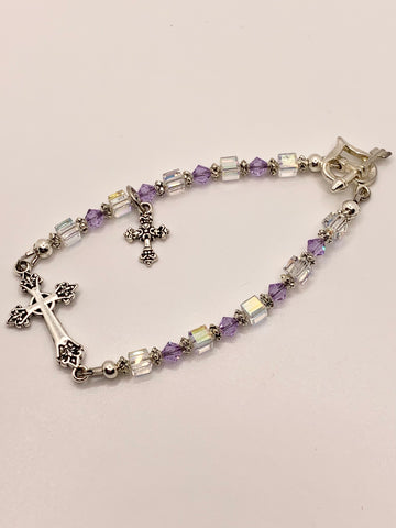 Swarovski Crystal Purple Cross Bracelet by Lidia