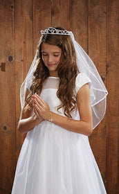 First Communion veil tiara pearls