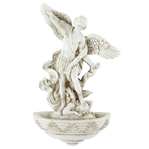 St. Michael Holy Water Font - Stone Finish
