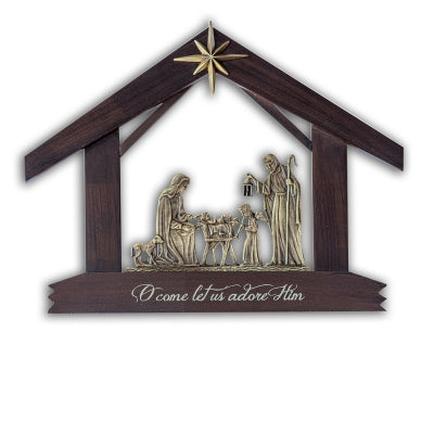 HOLY FAMILY WOOD & BRASS OX NATIVITY GIFT