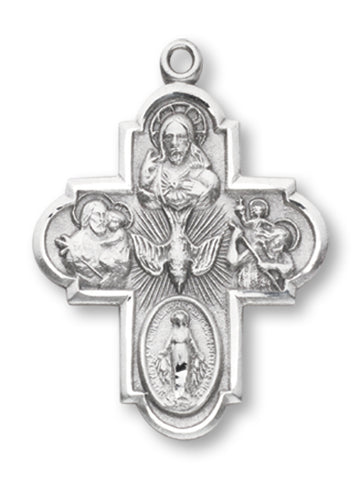 "PEWTER FOUR-WAY CONFIRMATION PENDANT w' 24"" CHAIN"