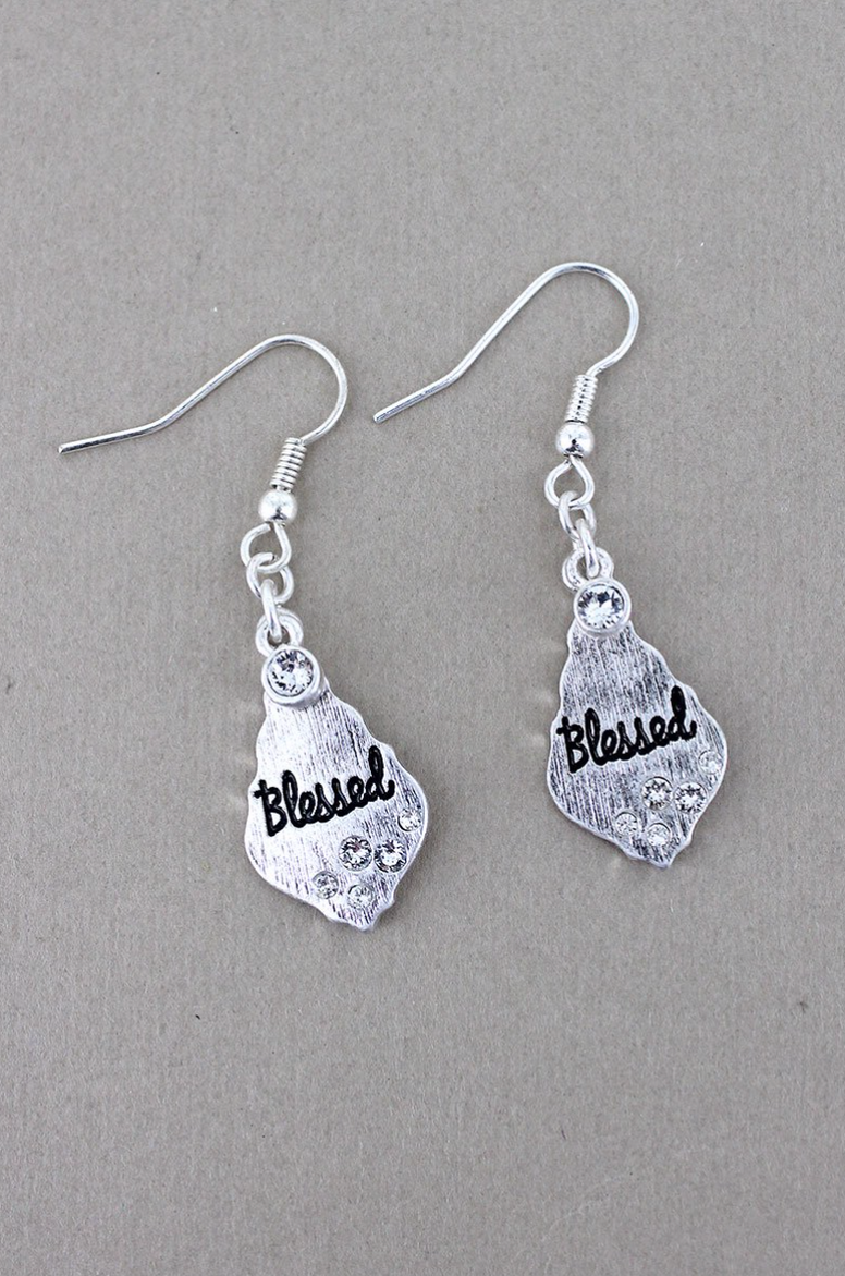 CLEAR CRYSTAL ACCENTED SILVERTONE 'BLESSED' MOROCCAN TEARDROP EARRINGS