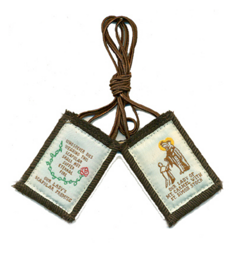 Regal brown scapular with white cord