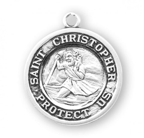 "SS Saint Christopher Medal, 18"" Chain"