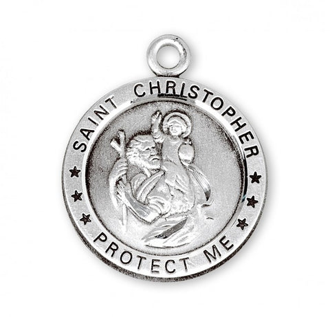 "SS Saint Christopher Round Medal, 24"" Chain"