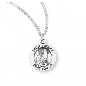 "Saint Patrick Round Sterling Silver Medal, 18"" Chain"