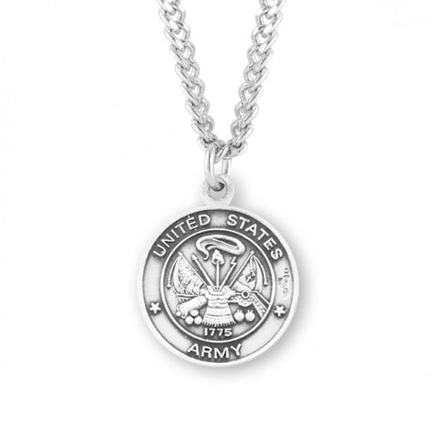 "Sterling Silver Army Medal with St. Michael on Reverse Side, 24"" Chain"
