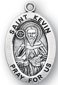"Sterling Silver Saint Kevin Medal, 20"" Chain"