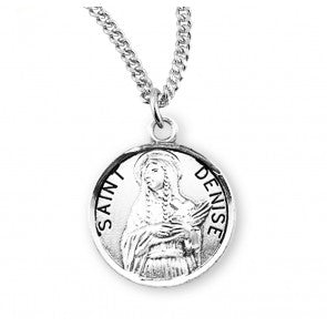 "Saint Denise Round Sterling Silver Medal, 18"" Chain"