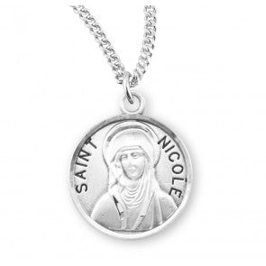 "Saint Nicole Round Sterling Silver Medal, 18"" Chain"