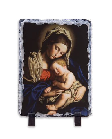 Madonna and Child Vertical Slate Tile