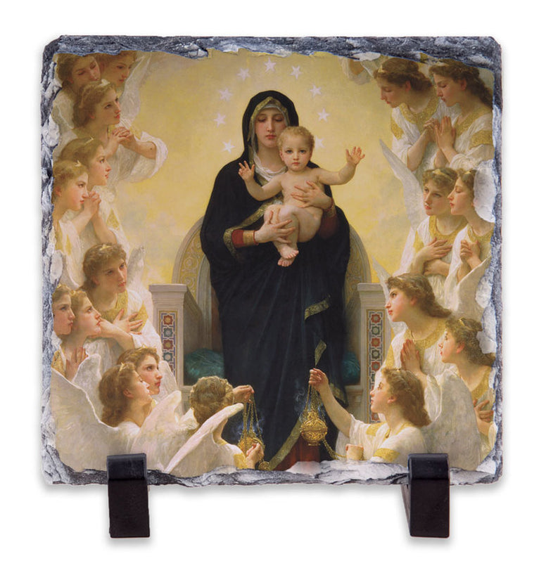 Queen of the Angels Square Slate Tile with Stand