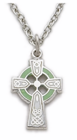 Sterling Silver Celtic Cross Necklace with Green Enamel
