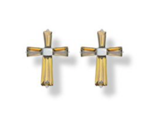 3/8 Inch Sterling Silver and Glass Crystal November Birthstone Baguette Cross Earrings