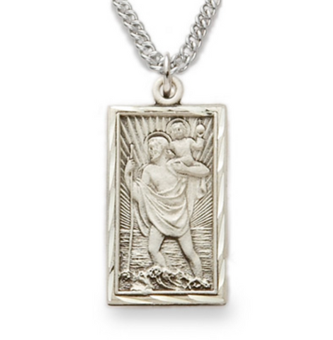 "Sterling Silver Engraved Rectangle St. Christopher Medal with 20"" Chain"