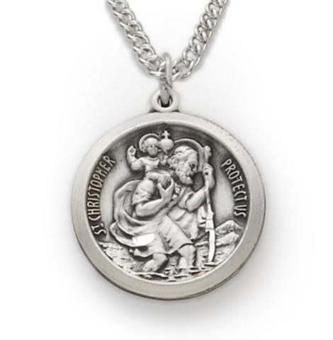 "Sterling Silver Round Engraved St. Christopher Medal with 20"" Chain"