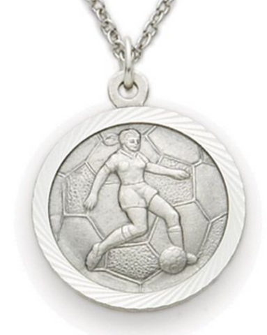 "Nickel Silver Female Soccer Player Sports Medal, St. Christopher on Back, 18"" Chain"